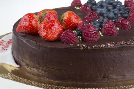 fattening: chocolate mousse cake with berries Stock Photo