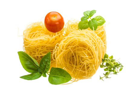 Noodle with basil, mint, tomato and thyme photo