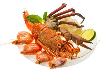 Spiny lobster, shrimps, crab legs  and rice Stock Photo - 20278684
