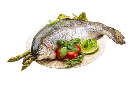 Fresh raw rainbow trout photo