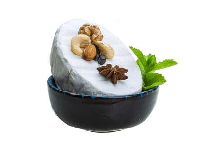 barberries: Fresh soft brie cheese Stock Photo