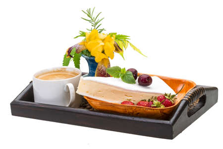 Breakfast wirh coffee and cheese with iris flower photo