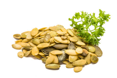 Pumpkin seeds with parsley branch