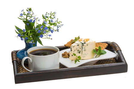 Breakfast with coffee, and cheese with flowers photo