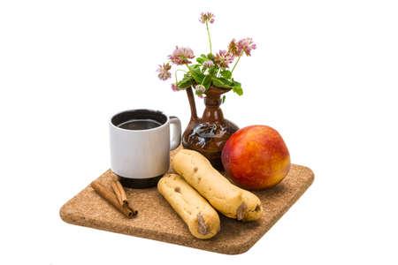Breakfast wirh coffee, eclair and nectarine Stock Photo - 21104543