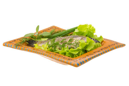 Raw Crucian on the plate with dill Stock Photo - 21228134