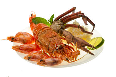 palinuridae: Spiny lobster, shrimps, crab legs  and rice