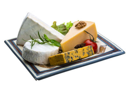 cheese platter: Variety cheese assortment with nuts and herbs