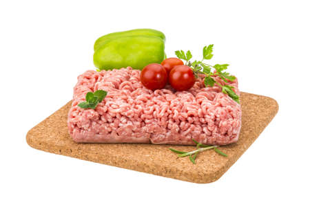 Meat stuffing with basil isolated photo