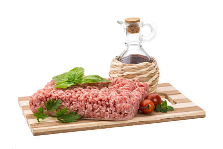 Meat stuffing with basil isolated