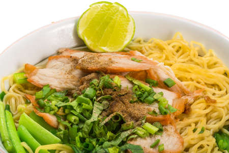 Chinese pork barbecue with noodle photo