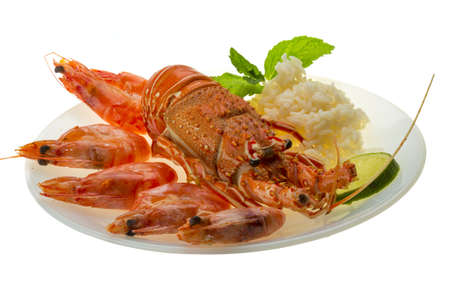 spiny lobster: Spiny lobster, shrimps and rice Stock Photo