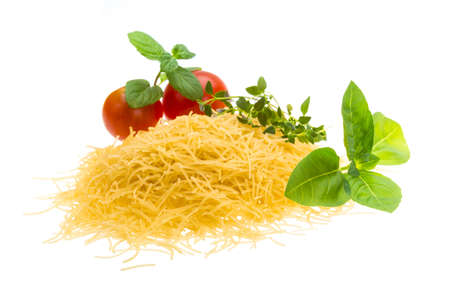 Macaroni noodle with tomato and basil photo