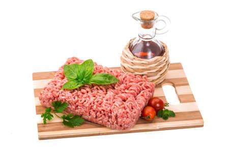 Stuffed raw meat with basil photo