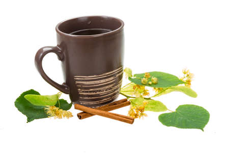 Linden tea with cinnamon isolated photo
