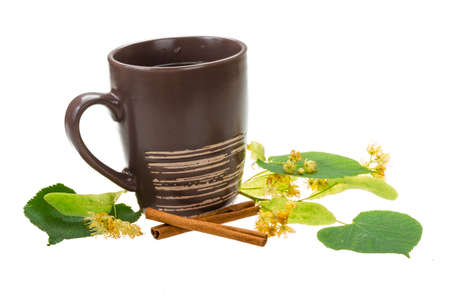 linden tea: Linden tea with cinnamon isolated
