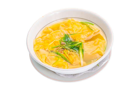 Won-ton Yellow Chinese soup with onion photo