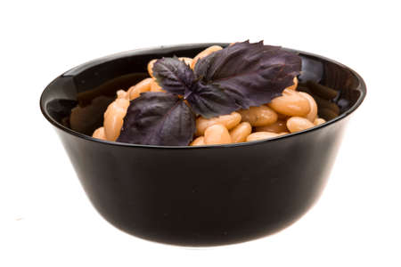 tinned: Tinned white bean macro isolated Stock Photo