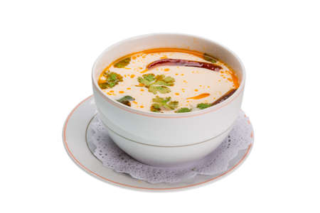 Thai famous soup Thom Yam with Chili pepper photo