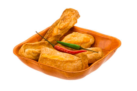 danish puff pastry: Pastries with cheese and chilli pepper isolated
