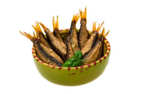 sprat: Tinned sprat with basil branch