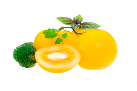 Yellow tomatoes and cucumber with branch photo