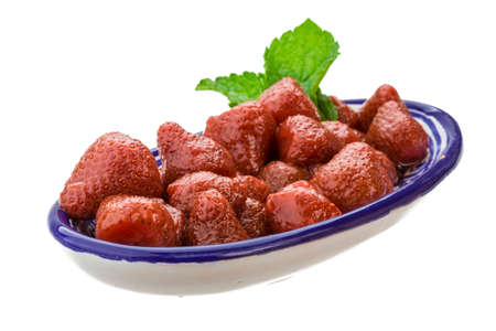Marinated strawberry with mint photo