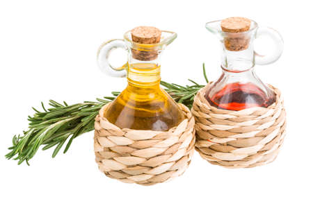 Vinegar, oil and rosemary isolated
