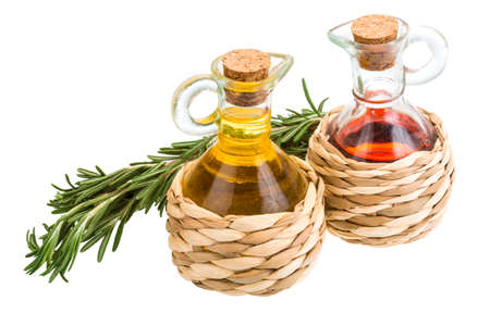 Oil, vinegar and rosemary isolated photo
