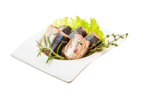 Pacific saury with salad and herbs