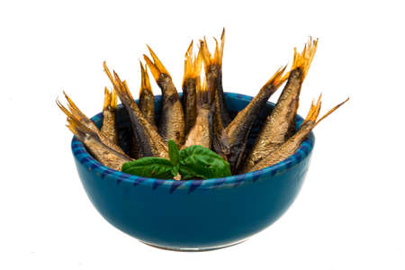 sprat: Sprat in the bowl isolated on white Stock Photo