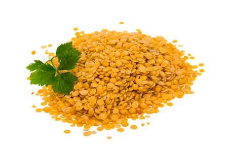 Yellow lentils isolated photo