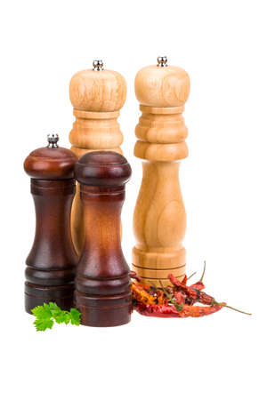 Pepper mills isolated photo