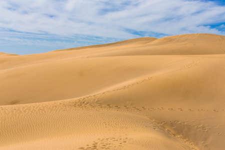 desert sunset: Maspalomas Duna - Desert in Canary island Gran Canaria Stock Photo