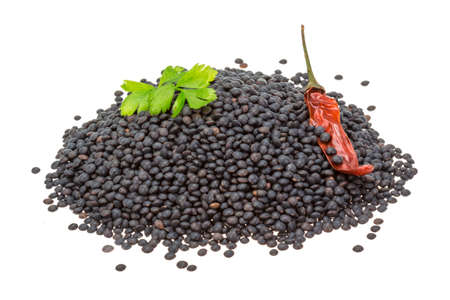 Black lentils with pepper photo
