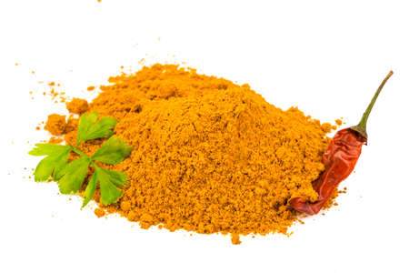 Curcuma powder heap isolated photo