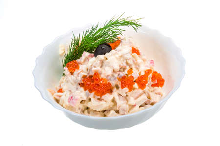 Seafood salad with red caviar photo