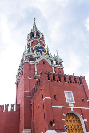 Spasskaya tower on Red Square Moscow Kremlin