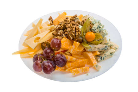 Cheese assortment with grape photo