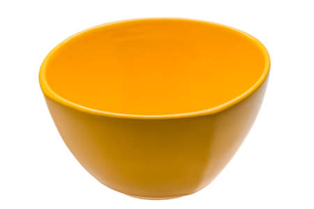 Yellow empty bowl isolated photo