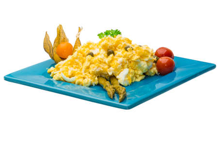 scramble: Scrambled eggs with asparagus Stock Photo