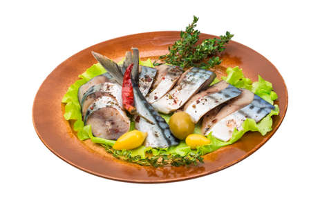 Mackerels with salad and thyme photo