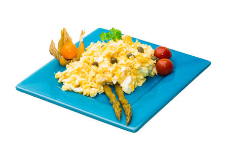 Scrambled eggs with asparagus photo