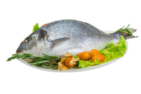 dorada: Raw dorada with herbs