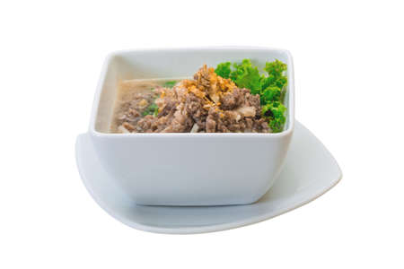 Thai soup with minced meat photo