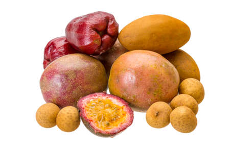 Thai fruits - Sapodilla, maracuya, longan, chompoo photo