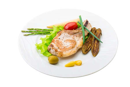 T-bone steak with egg-plant and vegetables photo