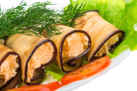 Egg-plant roll with cheese photo