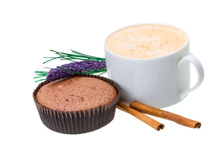 Muffin with coffee cup photo