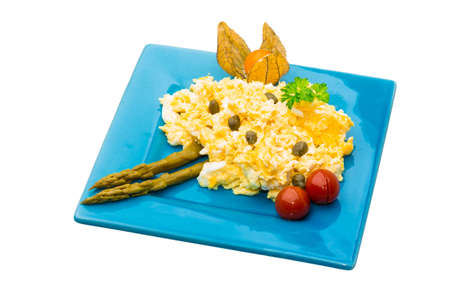 Scrambled eggs with asparagus photo